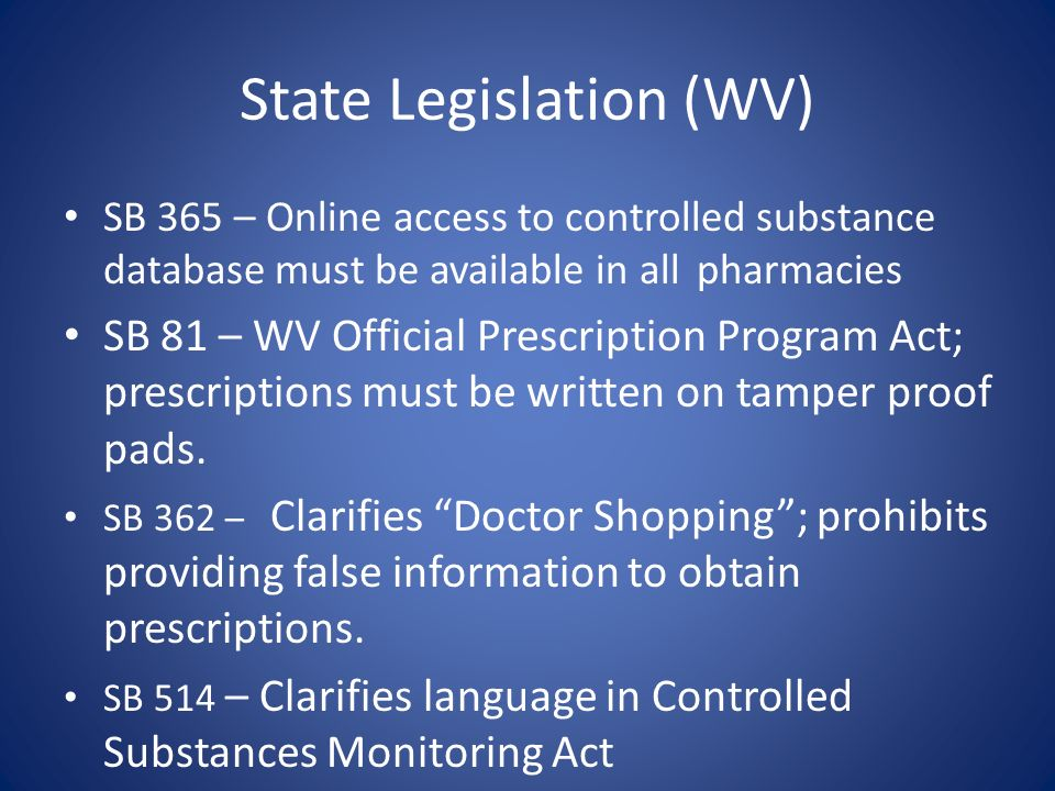 State Legislation (WV) SB 365 – Online access to controlled substance database must be available in all pharmacies SB 81 – WV Official Prescription Pr