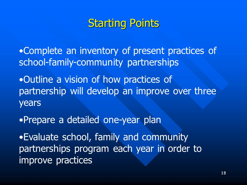 18 Starting Points Complete an inventory of present practices of school-family-community partnerships Outline a vision of how practices of partnership