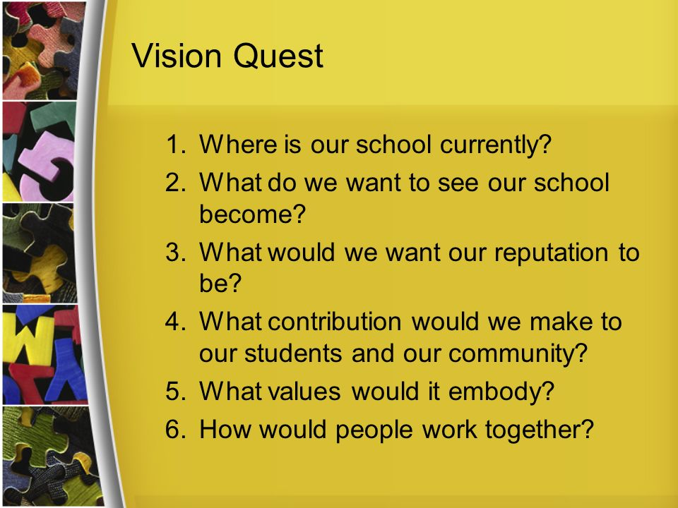 Vision Quest 1.Where is our school currently? 2.What do we want to see our school become? 3.What would we want our reputation to be? 4.What contributi