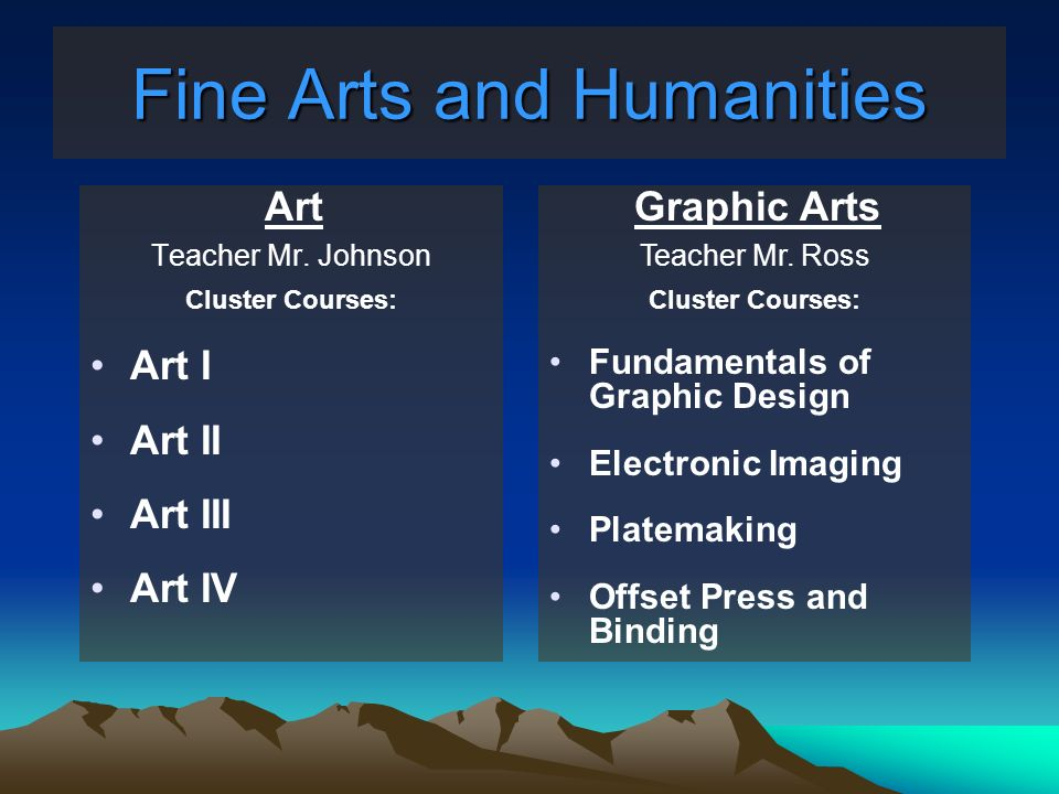 Fine Arts and Humanities Art Teacher Mr. Johnson Cluster Courses: Art I Art II Art III Art IV Graphic Arts Teacher Mr. Ross Cluster Courses: Fundament