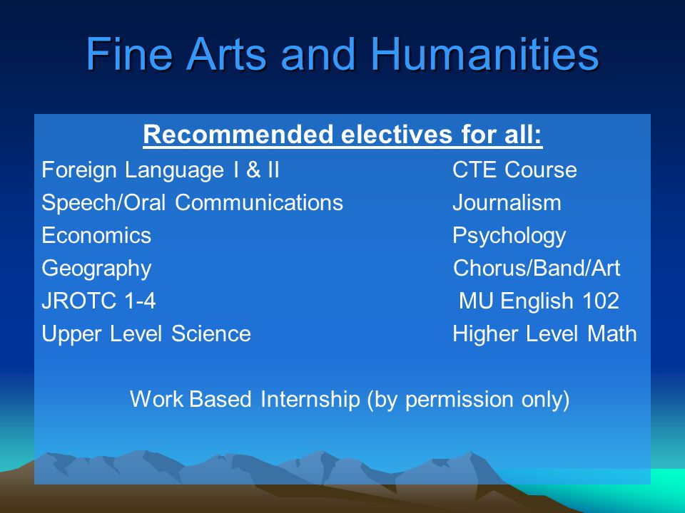 Fine Arts and Humanities Recommended electives for all: Foreign Language I & IICTE Course Speech/Oral CommunicationsJournalism Economics Psychology Geography Chorus/Band/Art JROTC 1-4 MU English 102 Upper Level ScienceHigher Level Math Work Based Internship (by permission only)