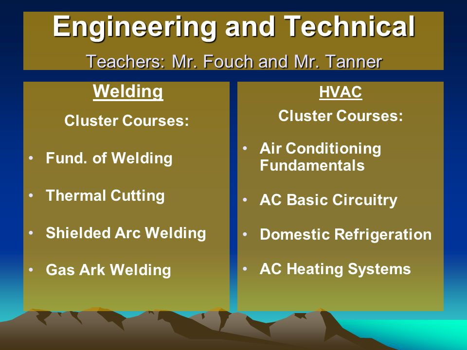 Engineering and Technical Teachers: Mr. Fouch and Mr. Tanner Welding Cluster Courses: Fund. of Welding Thermal Cutting Shielded Arc Welding Gas Ark We