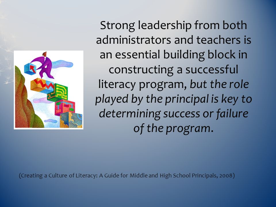 Strong leadership from both administrators and teachers is an essential building block in constructing a successful literacy program, but the role pla
