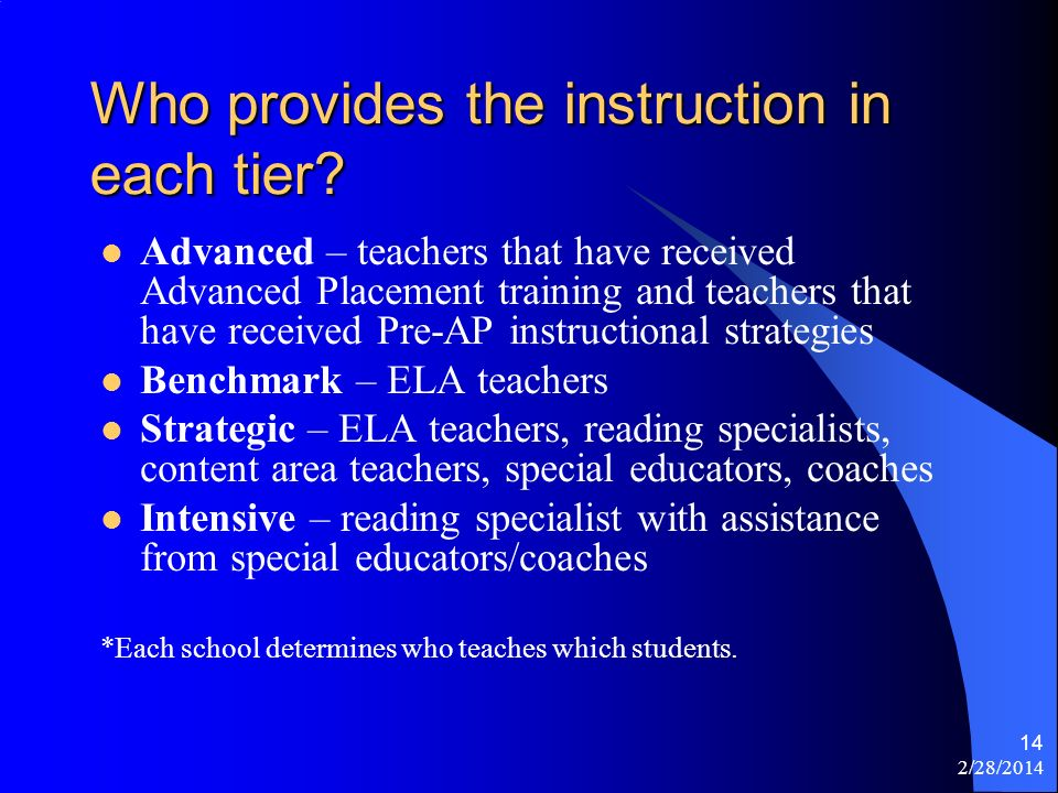 2/28/2014 14 Who provides the instruction in each tier? Advanced – teachers that have received Advanced Placement training and teachers that have rece