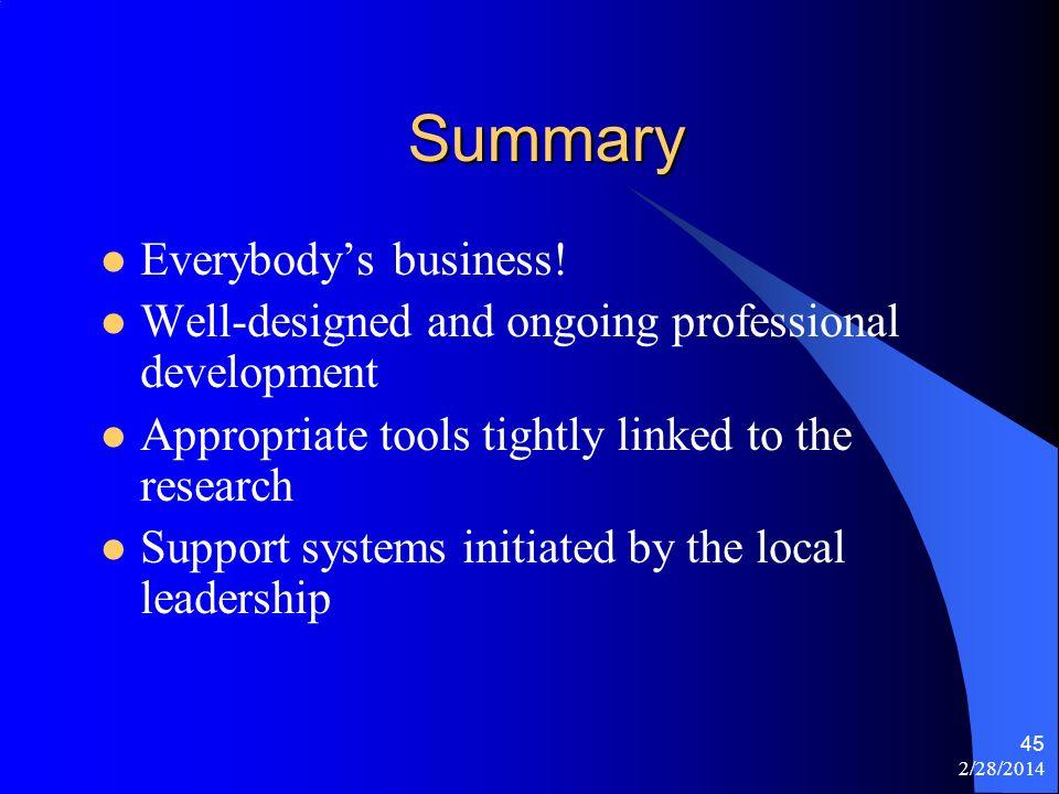2/28/2014 45 Summary Everybodys business.