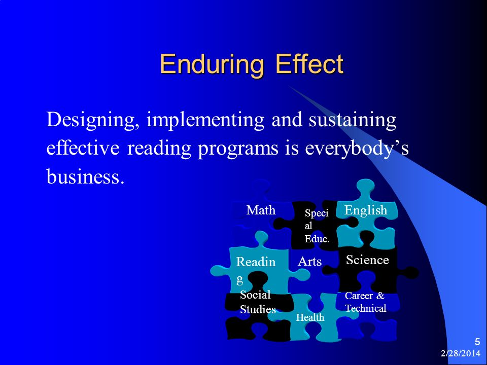 2/28/2014 5 Enduring Effect Designing, implementing and sustaining effective reading programs is everybodys business. Science Health Career & Technica