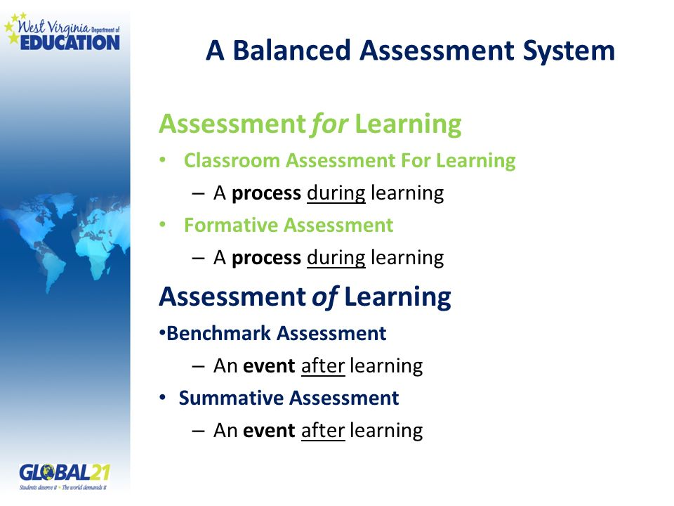 A Balanced Assessment System Assessment for Learning Classroom Assessment For Learning – A process during learning Formative Assessment – A process du