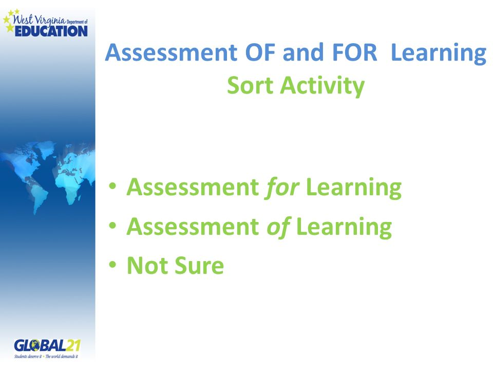Assessment OF and FOR Learning Sort Activity Assessment for Learning Assessment of Learning Not Sure
