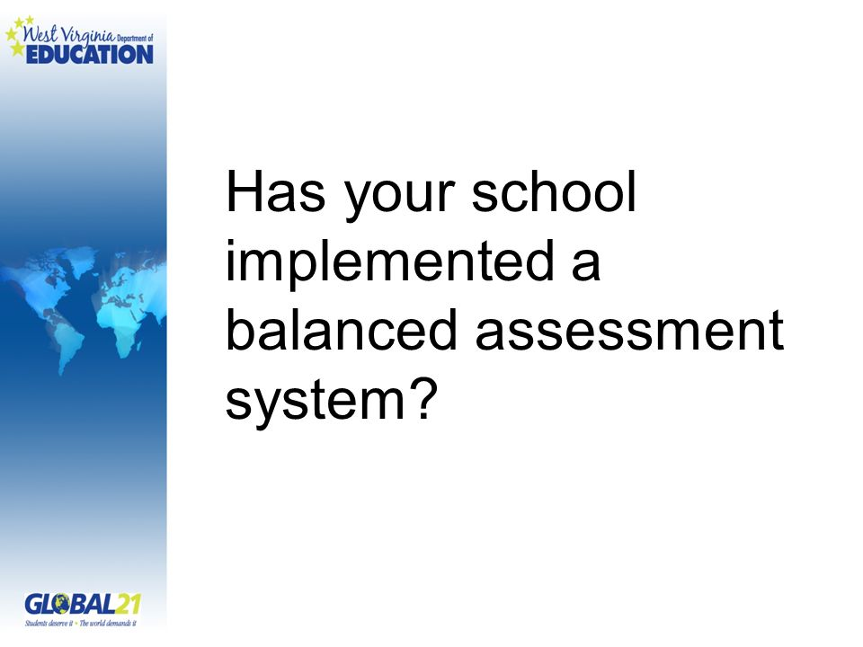 Has your school implemented a balanced assessment system