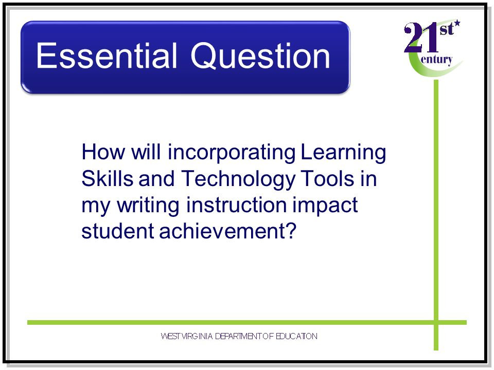 How will incorporating Learning Skills and Technology Tools in my writing instruction impact student achievement? Essential Question