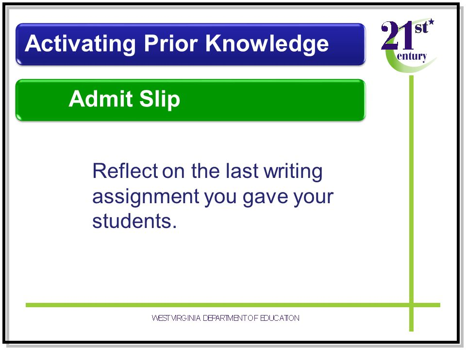 Reflect on the last writing assignment you gave your students. Activating Prior Knowledge Admit Slip