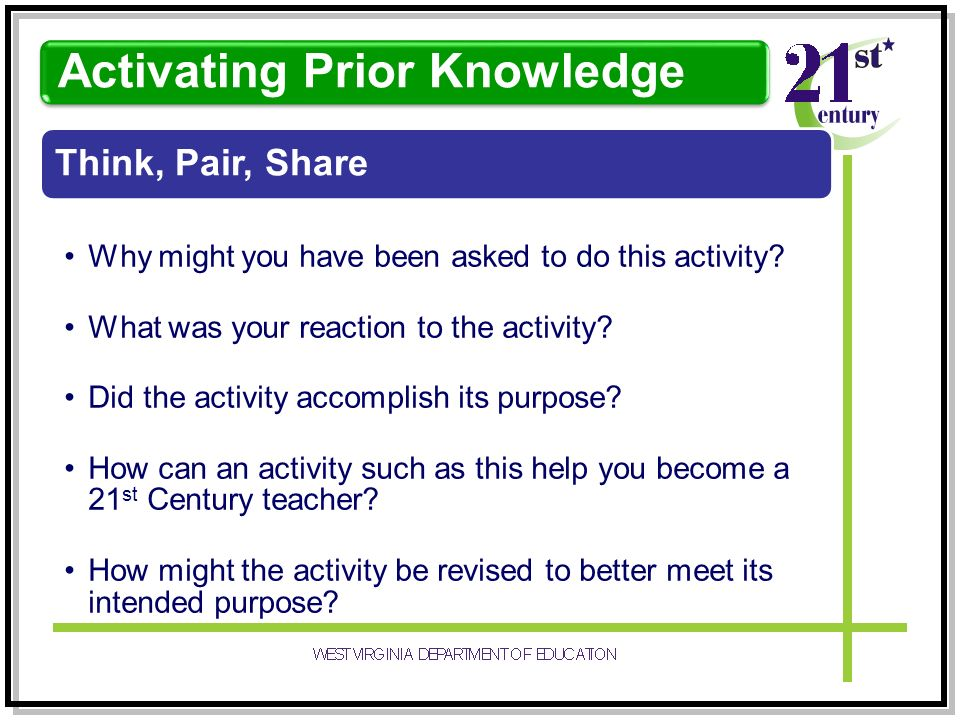 Think, Pair, Share Why might you have been asked to do this activity.