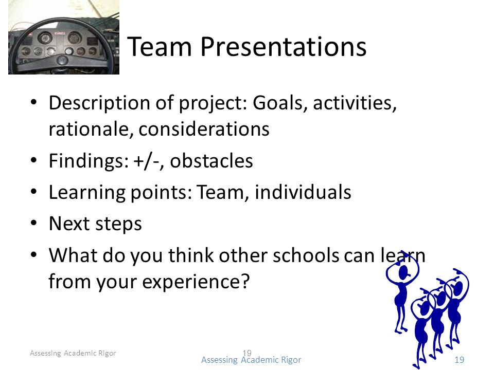 Team Presentations Description of project: Goals, activities, rationale, considerations Findings: +/-, obstacles Learning points: Team, individuals Next steps What do you think other schools can learn from your experience.