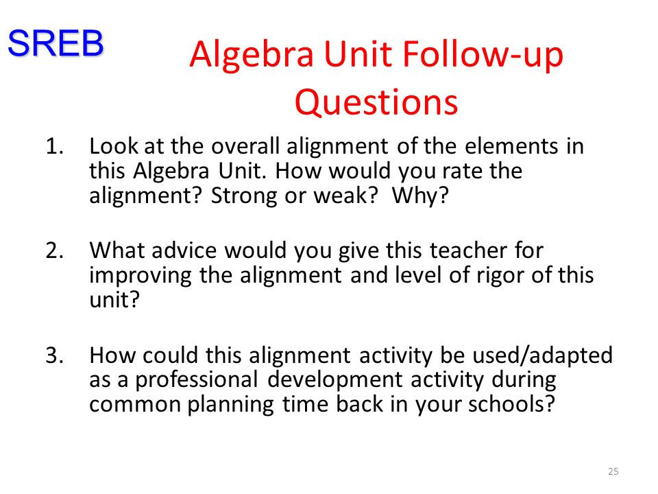 25 Algebra Unit Follow-up Questions 1.Look at the overall alignment of the elements in this Algebra Unit.