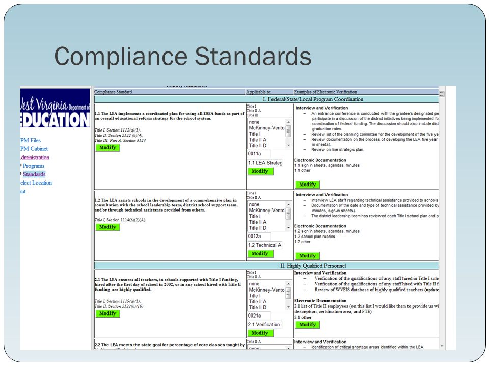 Compliance Standards