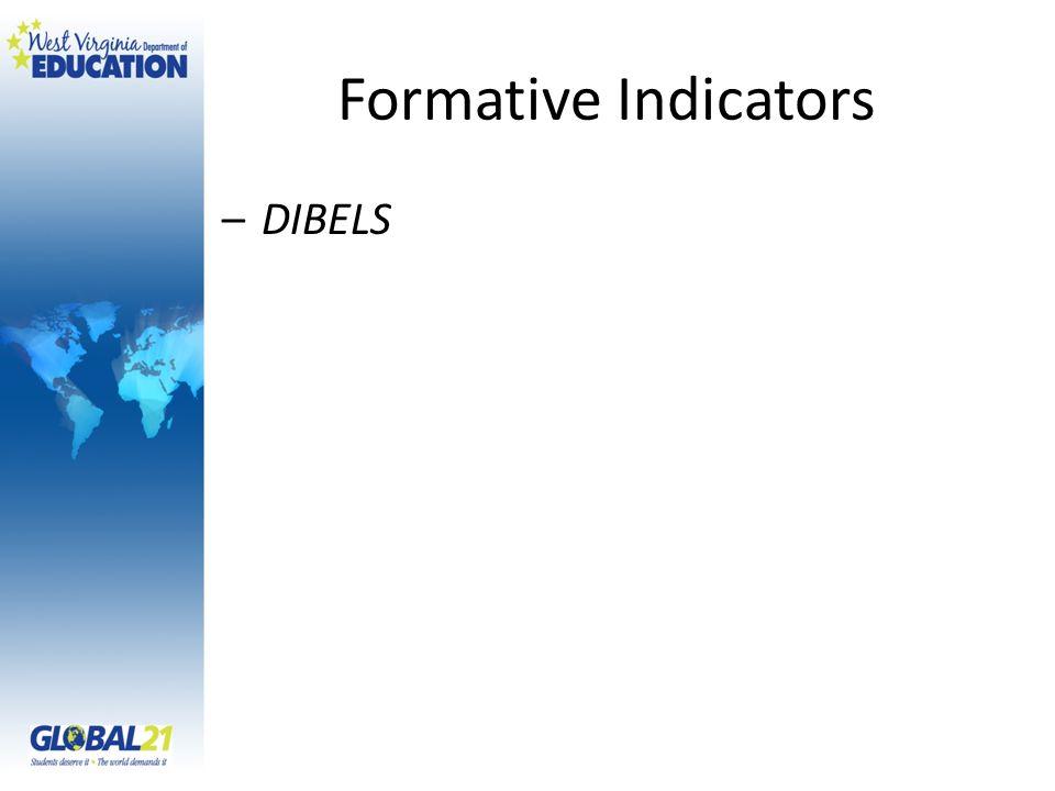 Formative Indicators –DIBELS