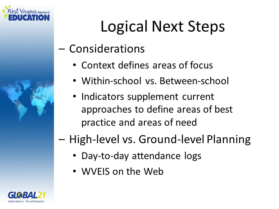 Logical Next Steps –Considerations Context defines areas of focus Within-school vs.