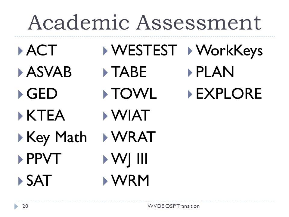 Academic Assessment ACT ASVAB GED KTEA Key Math PPVT SAT WESTEST TABE TOWL WIAT WRAT WJ III WRM WorkKeys PLAN EXPLORE 20WVDE OSP Transition