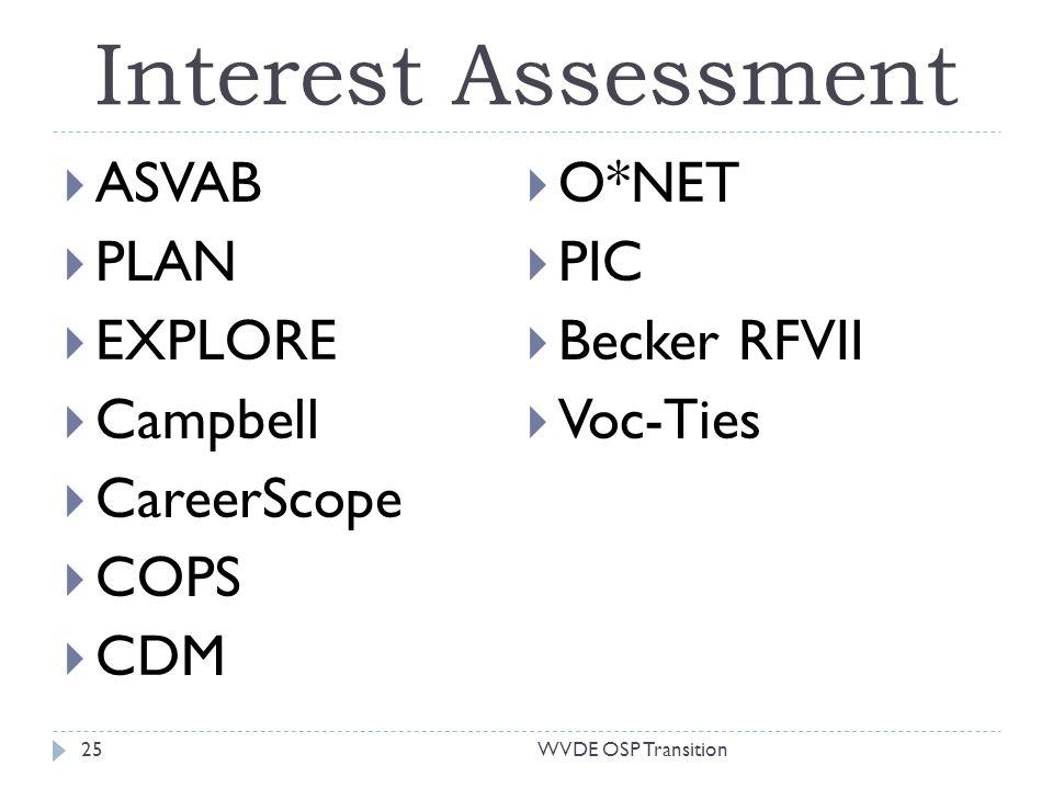Interest Assessment ASVAB PLAN EXPLORE Campbell CareerScope COPS CDM O*NET PIC Becker RFVII Voc-Ties 25WVDE OSP Transition