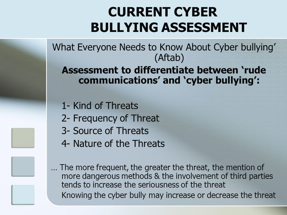 CURRENT CYBER BULLYING PROGRAMS & RESPONSES Intervention Strategies for Cyber bullying Directed at Student 1-Save the evidence 2-Conduct a threat asse