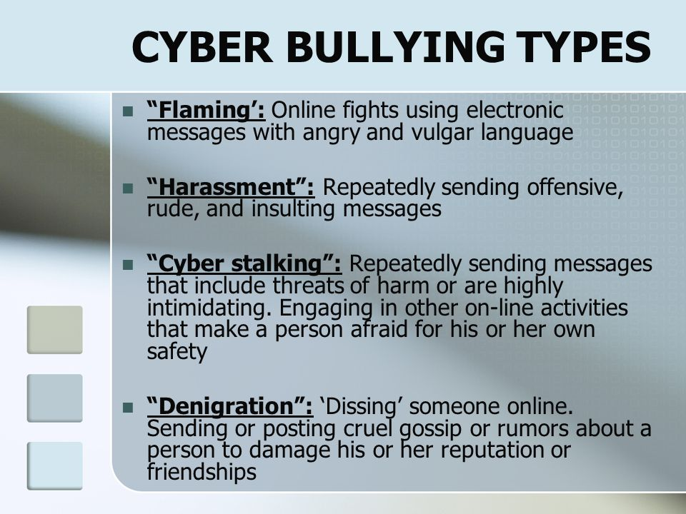 CYBER BULLY CATEGORIES Inadvertent Role-play Responding May not realize its cyber bullying Vengeful Angel Righting wrongs Protecting themselves Mean G