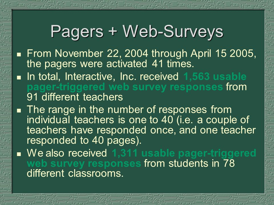 Pagers + Web-Surveys n From November 22, 2004 through April 15 2005, the pagers were activated 41 times. n In total, Interactive, Inc. received 1,563