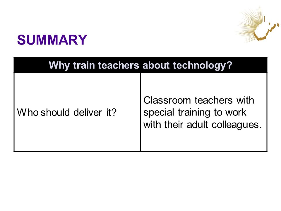 SUMMARY Why train teachers about technology? Who should deliver it? Classroom teachers with special training to work with their adult colleagues.