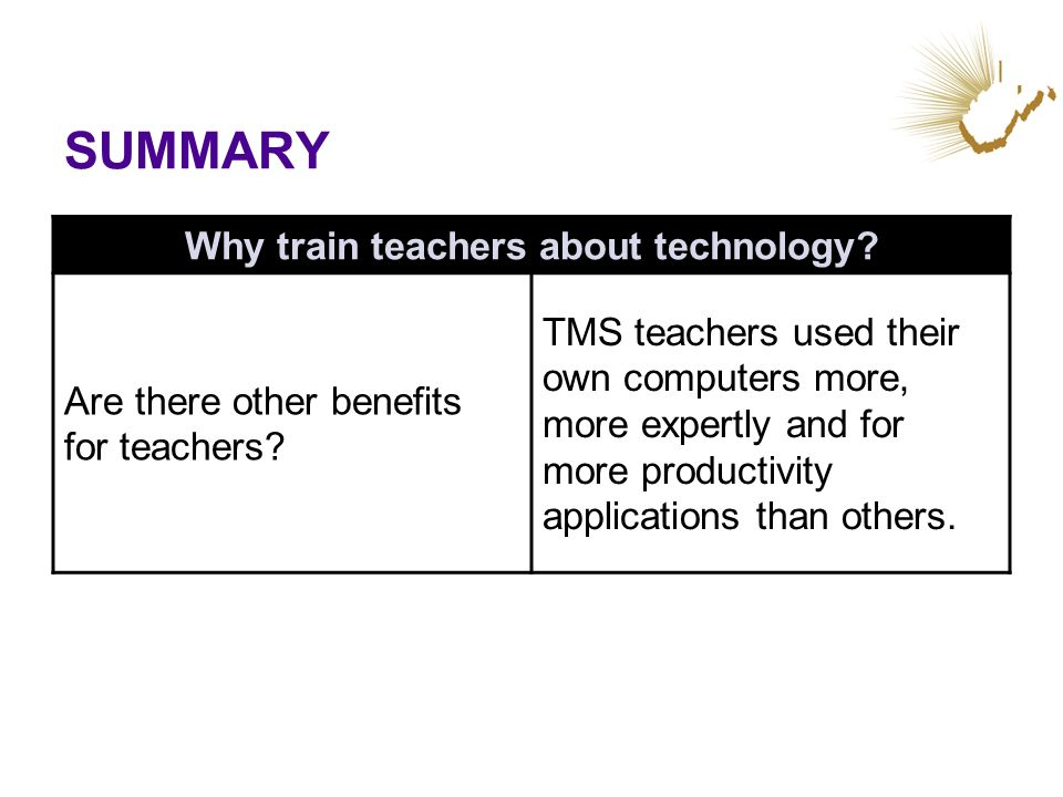 SUMMARY Why train teachers about technology? Are there other benefits for teachers? TMS teachers used their own computers more, more expertly and for