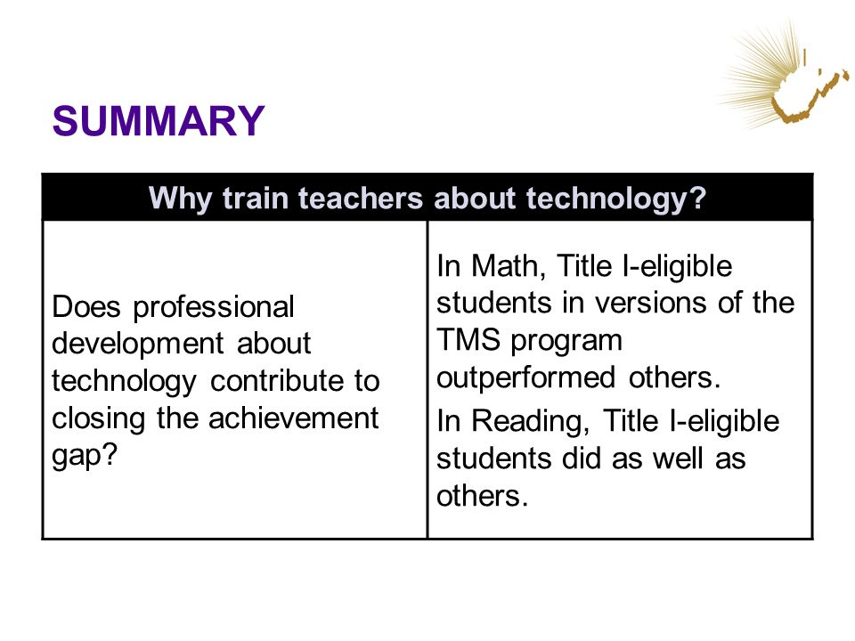 SUMMARY Why train teachers about technology? Does professional development about technology contribute to closing the achievement gap? In Math, Title