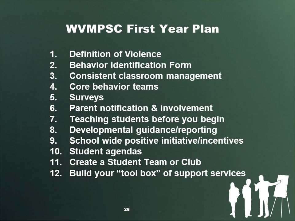 WVMPSC First Year Plan 1.Definition of Violence 2.Behavior Identification Form 3.Consistent classroom management 4.Core behavior teams 5.Surveys 6.Parent notification & involvement 7.Teaching students before you begin 8.Developmental guidance/reporting 9.School wide positive initiative/incentives 10.Student agendas 11.Create a Student Team or Club 12.Build your tool box of support services 26