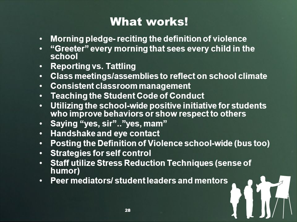 What works! Morning pledge- reciting the definition of violence Greeter every morning that sees every child in the school Reporting vs. Tattling Class