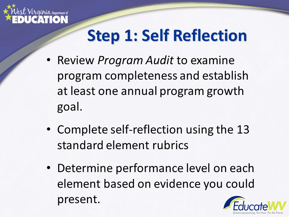Step 1: Self Reflection Review Program Audit to examine program completeness and establish at least one annual program growth goal. Complete self-refl