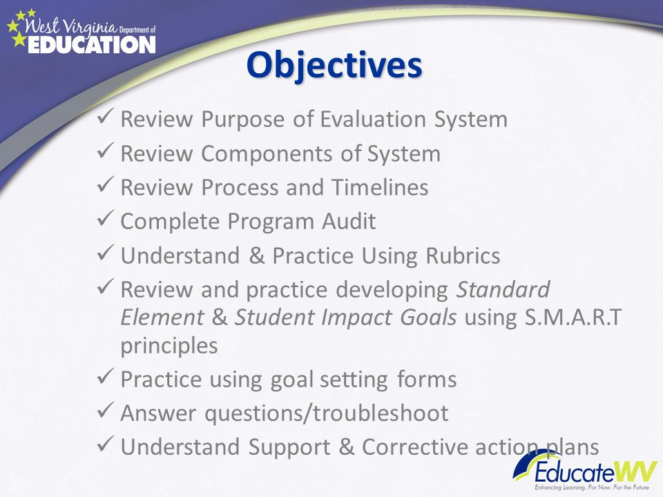 Objectives Review Purpose of Evaluation System Review Components of System Review Process and Timelines Complete Program Audit Understand & Practice U