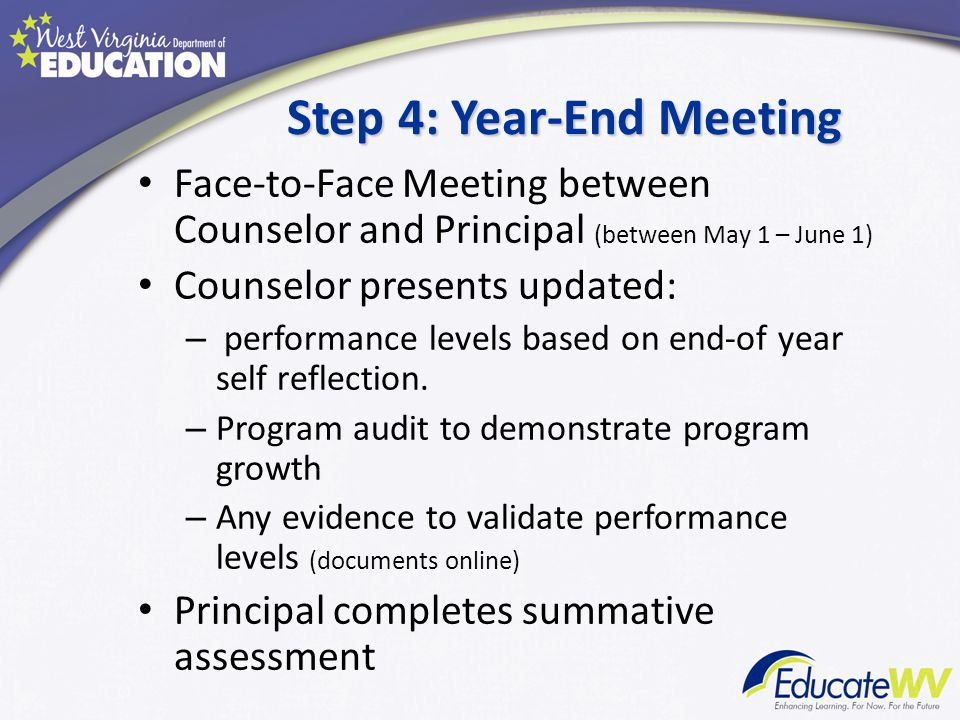 Step 4: Year-End Meeting Face-to-Face Meeting between Counselor and Principal (between May 1 – June 1) Counselor presents updated: – performance level