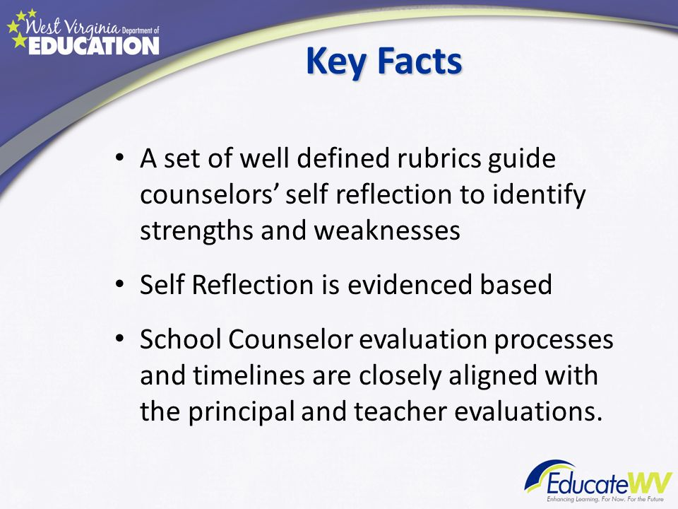 Key Facts A set of well defined rubrics guide counselors self reflection to identify strengths and weaknesses Self Reflection is evidenced based Schoo