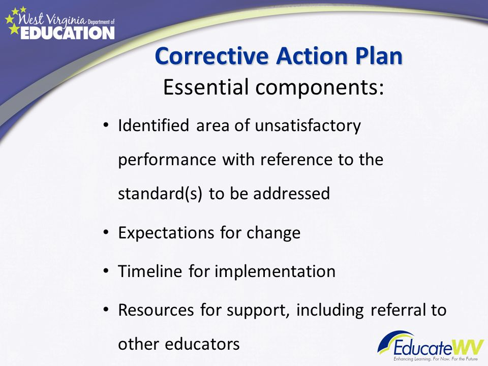 Corrective Action Plan Essential components: Identified area of unsatisfactory performance with reference to the standard(s) to be addressed Expectati