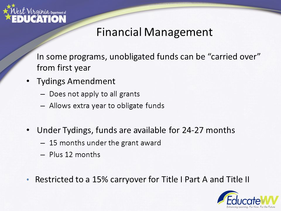 Financial Management In some programs, unobligated funds can be carried over from first year Tydings Amendment – Does not apply to all grants – Allows extra year to obligate funds Under Tydings, funds are available for 24-27 months – 15 months under the grant award – Plus 12 months Restricted to a 15% carryover for Title I Part A and Title II 19
