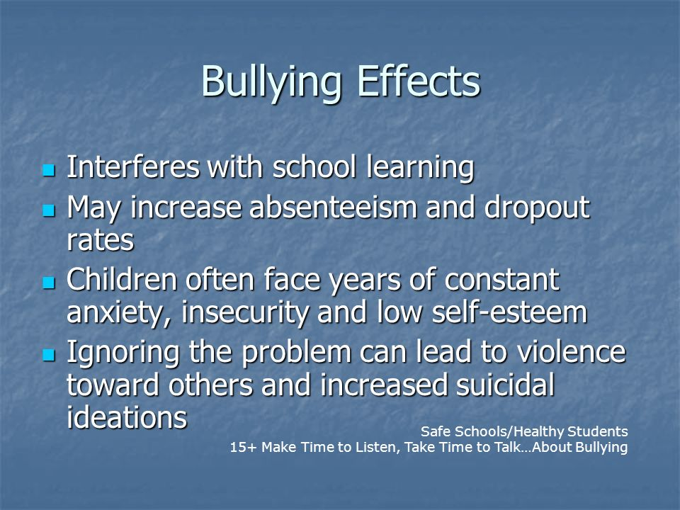 Bullying Effects Interferes with school learning Interferes with school learning May increase absenteeism and dropout rates May increase absenteeism a