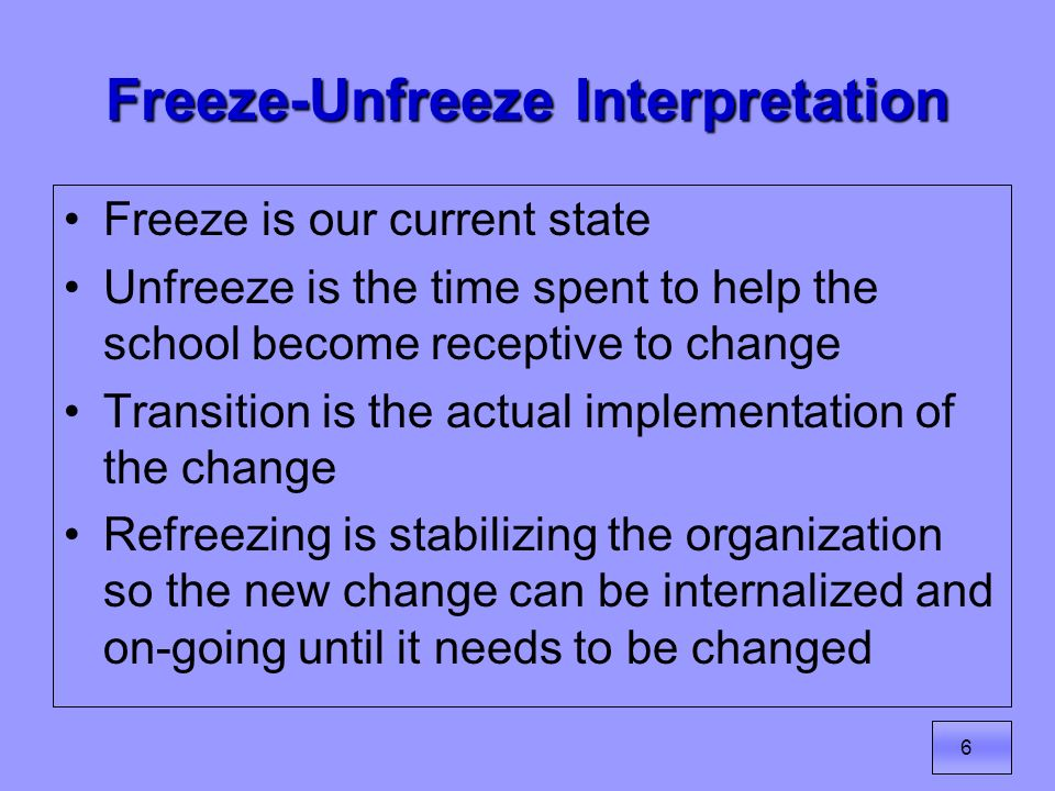 7 Same Concept, Different Visual Current State Unfreeze Transition Freeze Lewins Three Stages of Change: