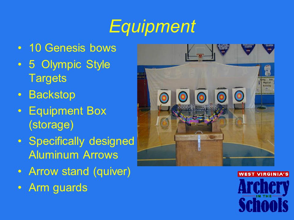 Equipment 10 Genesis bows 5 Olympic Style Targets Backstop Equipment Box (storage) Specifically designed Aluminum Arrows Arrow stand (quiver) Arm guar