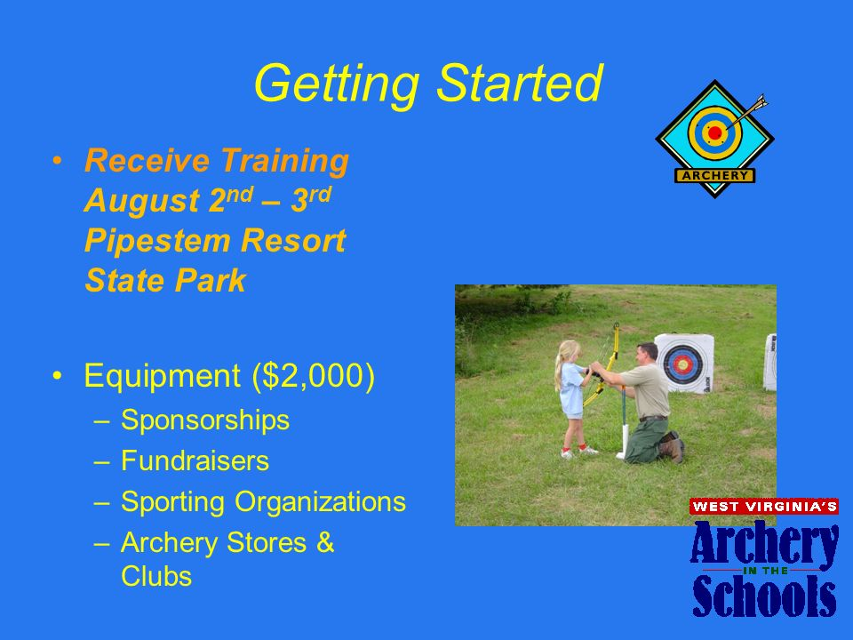 Getting Started Receive Training August 2 nd – 3 rd Pipestem Resort State Park Equipment ($2,000) –Sponsorships –Fundraisers –Sporting Organizations –