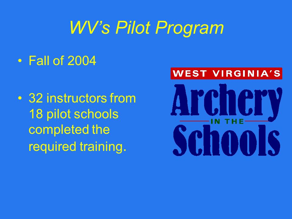 WVs Pilot Program Fall of 2004 32 instructors from 18 pilot schools completed the required training.