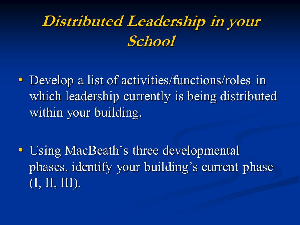 Distributed Leadership in your School Develop a list of activities/functions/roles in which leadership currently is being distributed within your building.