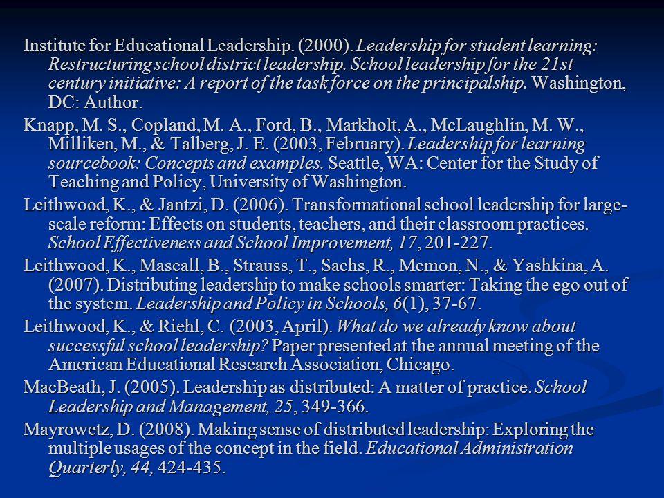 Institute for Educational Leadership.(2000).