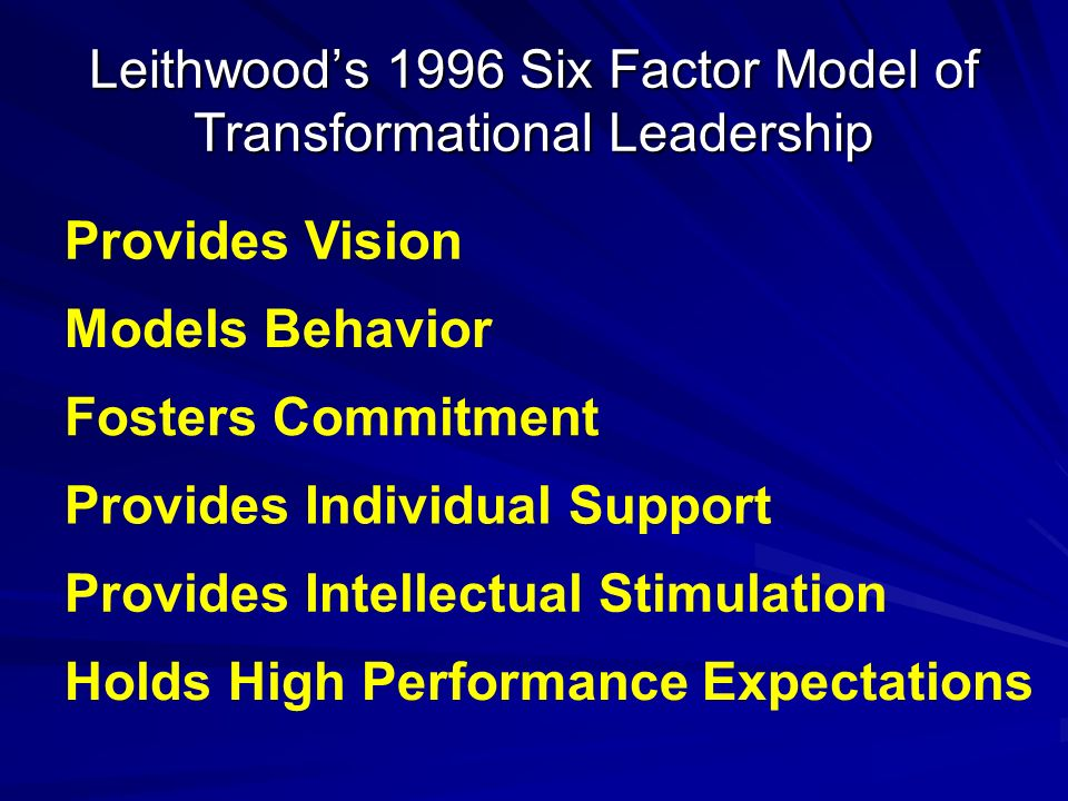 Leithwoods 1996 Six Factor Model of Transformational Leadership Provides Vision Models Behavior Fosters Commitment Provides Individual Support Provide