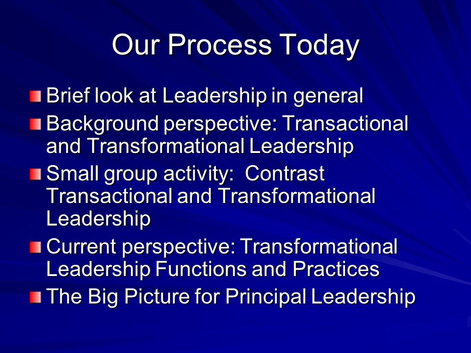 Our Process Today Brief look at Leadership in general Background perspective: Transactional and Transformational Leadership Small group activity: Cont