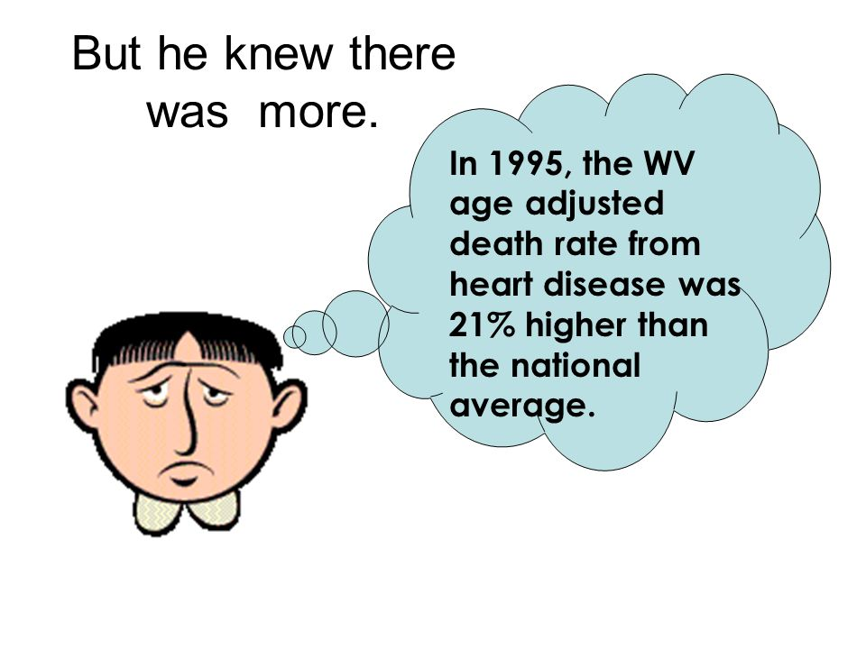 But he knew there was more. In 1995, the WV age adjusted death rate from heart disease was 21% higher than the national average.