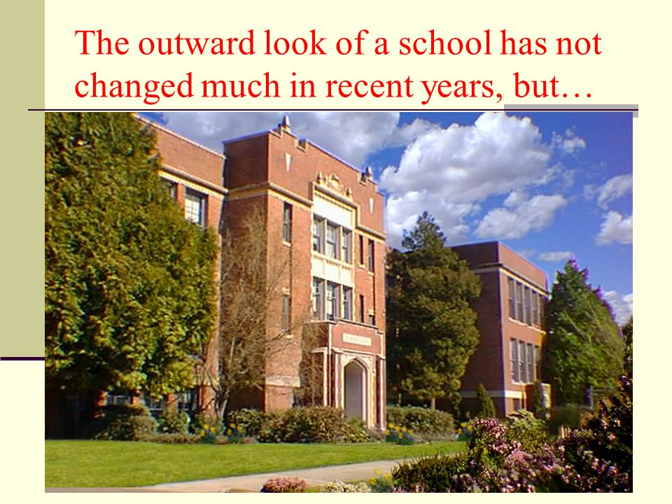 The outward look of a school has not changed much in recent years, but…