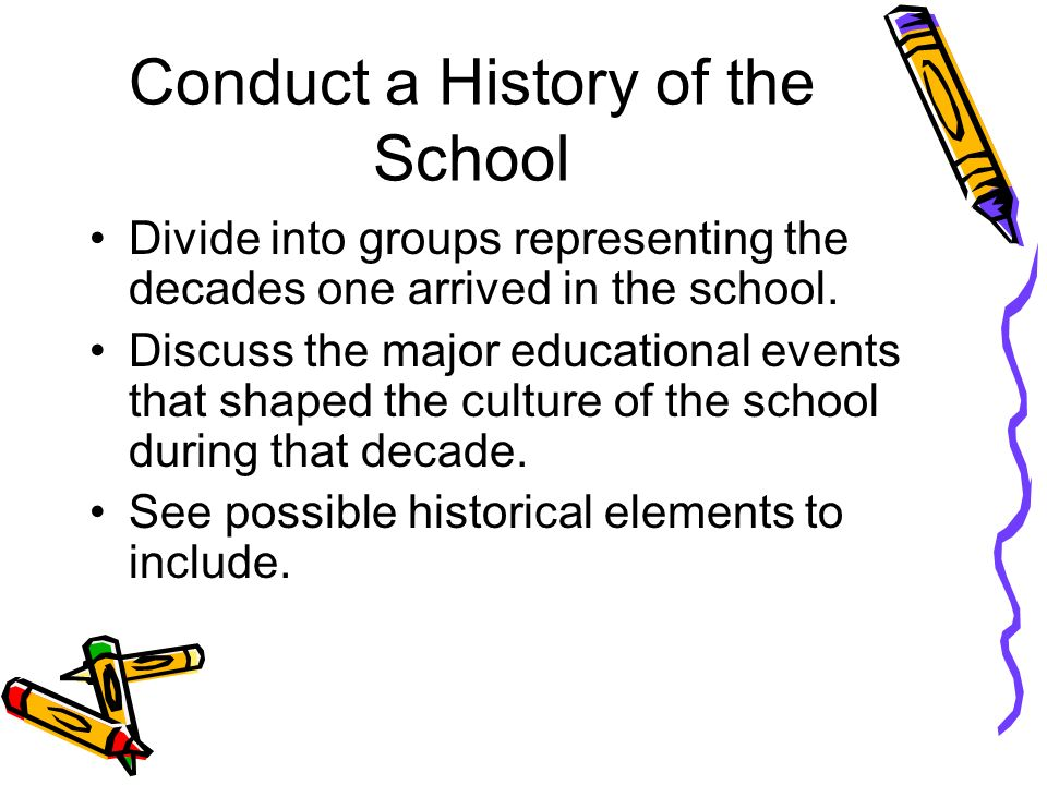Ways of Reading Your Culture... Conduct a school history.Conduct a school history. List Six Adjectives to describe your school.List Six Adjectives to