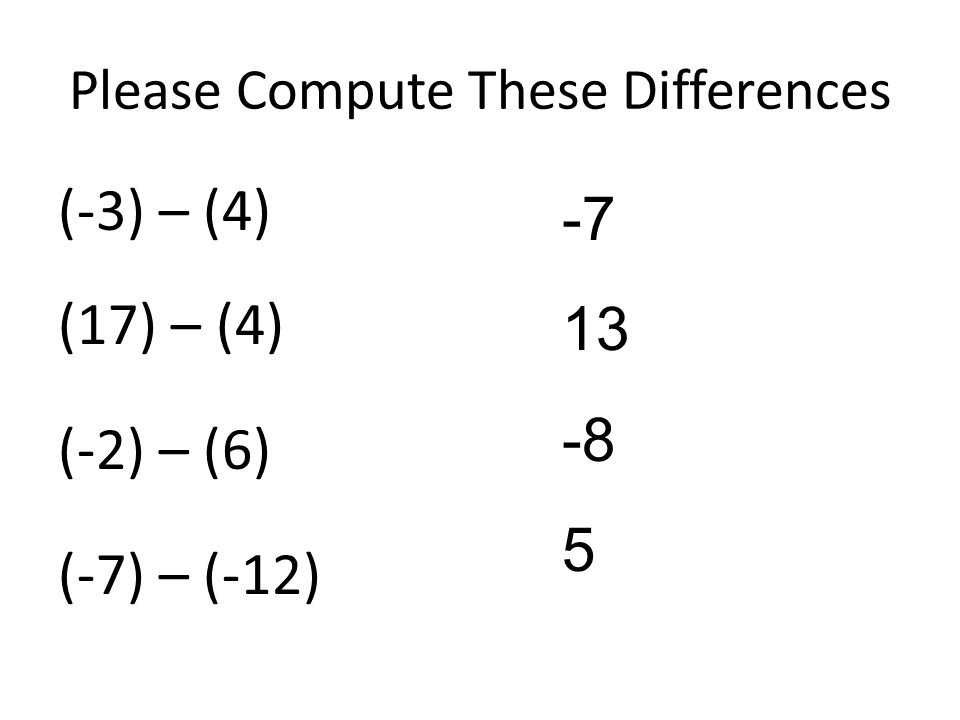 Please Compute These Differences (-3) – (4) (17) – (4) (-2) – (6) (-7) – (-12) -7 13 -8 5